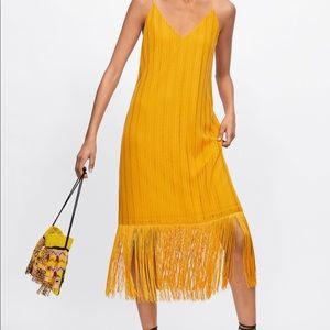 NWT'S Zara Yellow Fringe Textured Weave Dress Med